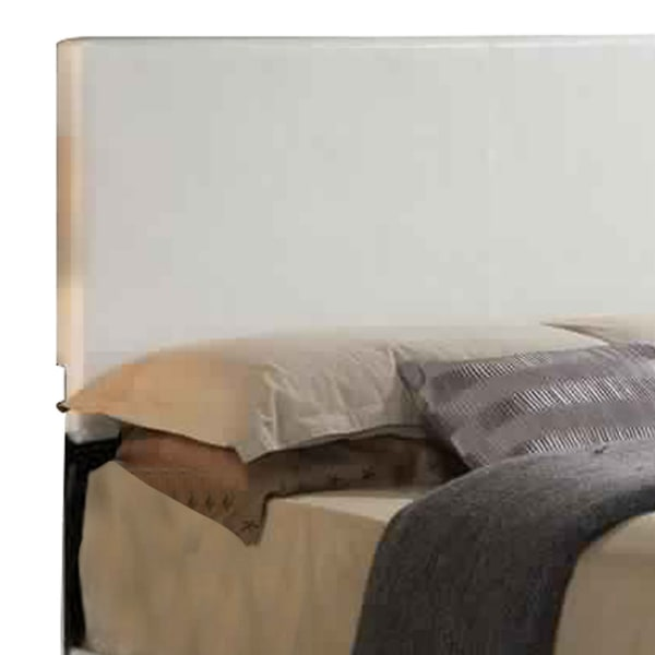 Faux Leather Eastern King Bed with Low Profile Footboard, White