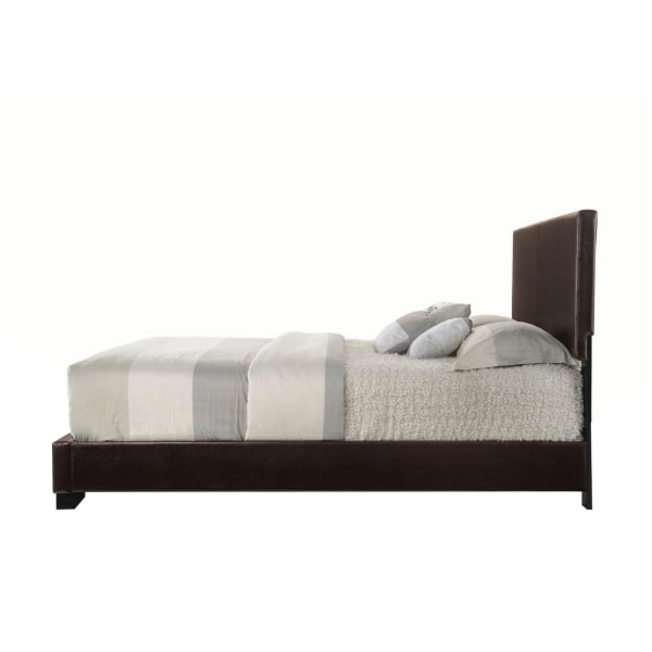 Faux Leather Full Size Bed with Low Profile Footboard, Espresso Brown