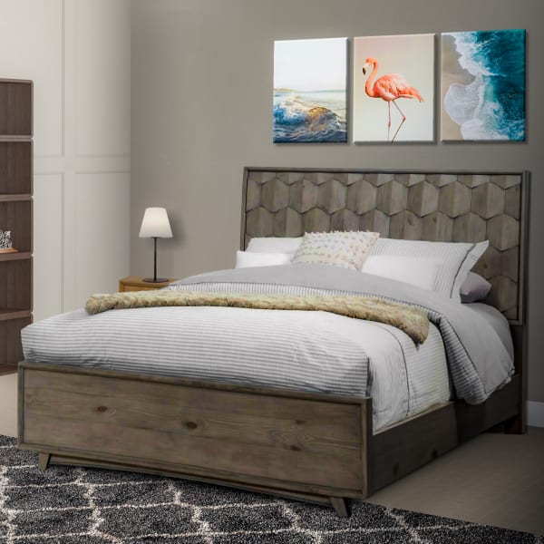Transitional Wooden Full Panel Bed with Textured Headboard, Gray