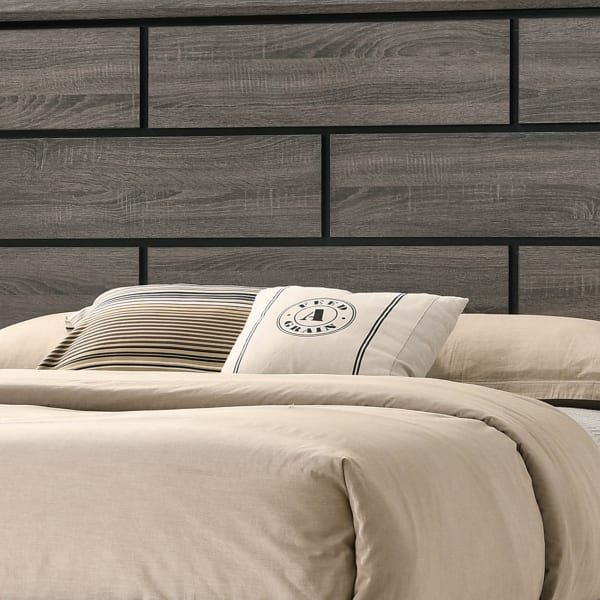Grooved Panel Contemporary Eastern King Bed with Tapered Legs, Gray