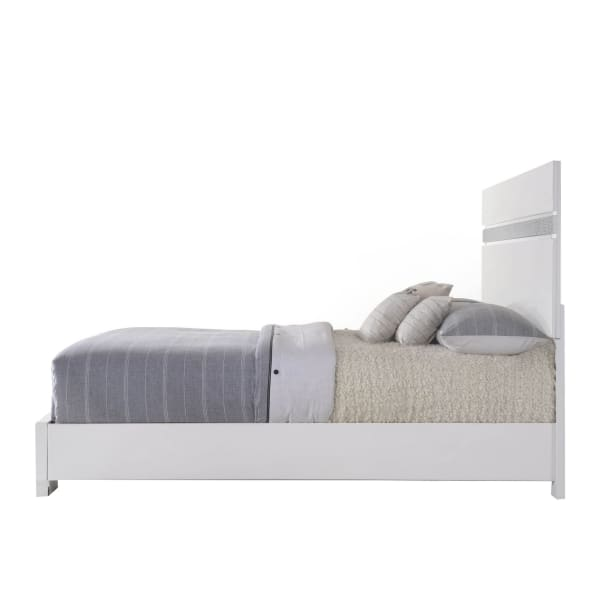 Contemporary Panel Design Eastern King Bed with Acrylic Trim, White