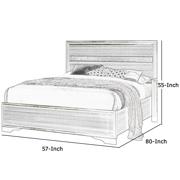 Panel Design Full Bed with Acrylic Trim Accents and Bracket Feet, Brown