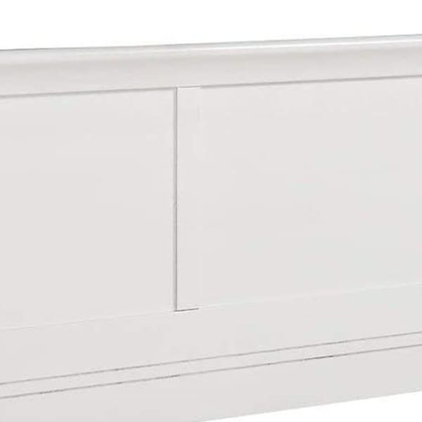 Transitional Panel Design Sleigh Twin Size Bed, White