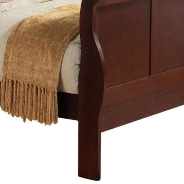 Transitional Panel Design Sleigh Twin King Size Bed, Cherry Brown