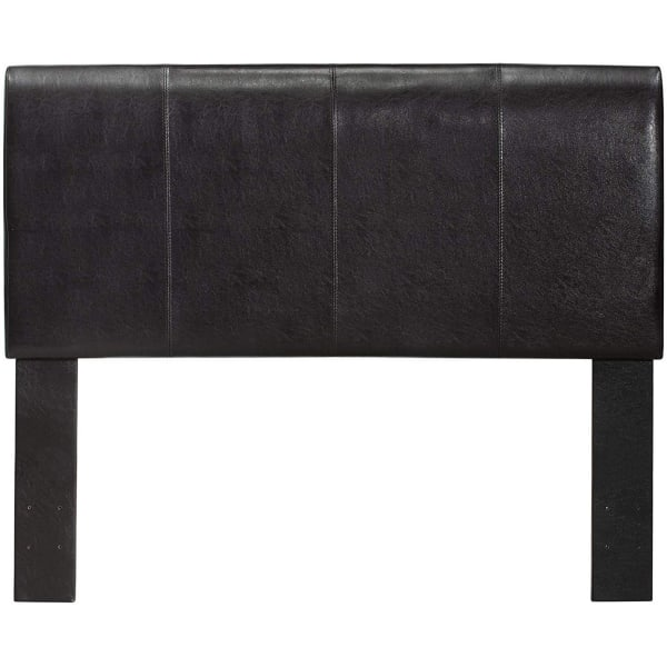 Platform Style Leatherette Queen Size Bed with Curved Headboard, Brown