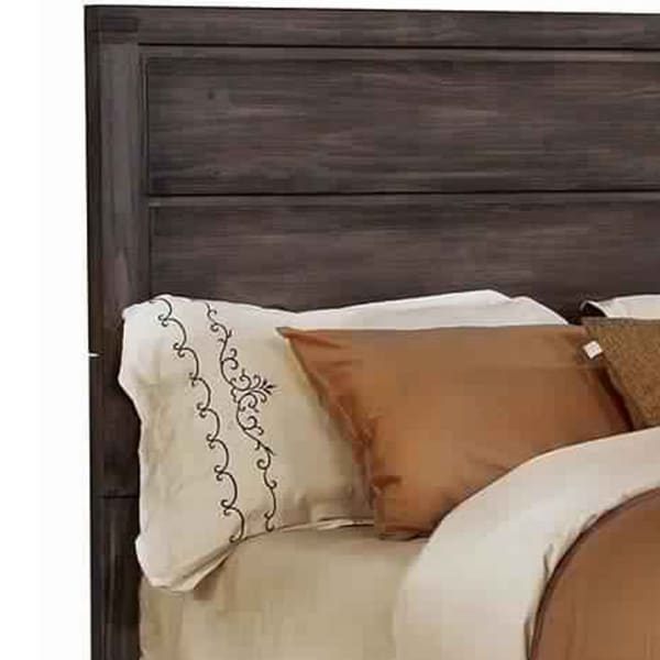 Wooden Queen Size Bed with Panel Headboard, Brown and Gray