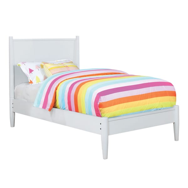 Mid Century Modern Wood Queen Bed with Round Tapered Legs, White
