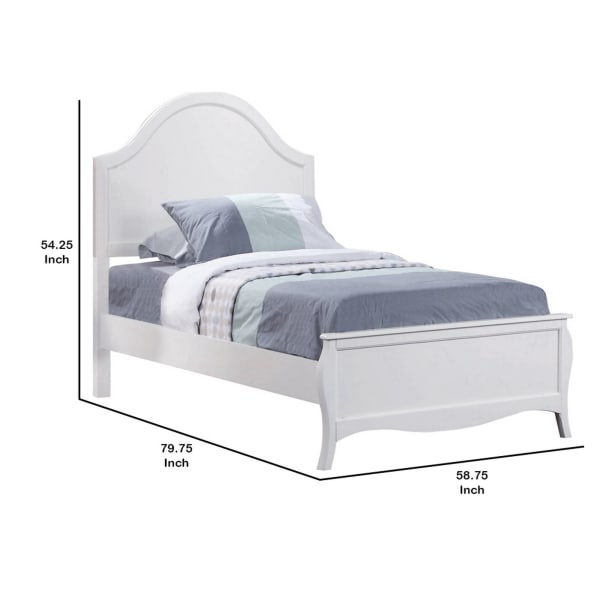 Wooden Full Size Bed with Camelback Headboard and Flared Legs, White