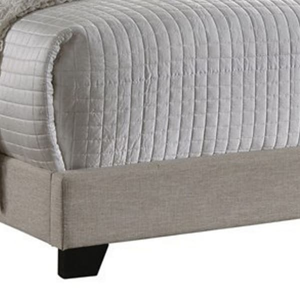 Fabric Upholstered Wooden Demi Wing Full Bed with Camelback Headboard,Beige
