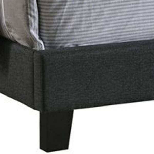 Fabric Upholstered Wooden Full Size Bed with Nailhead Trims, Gray