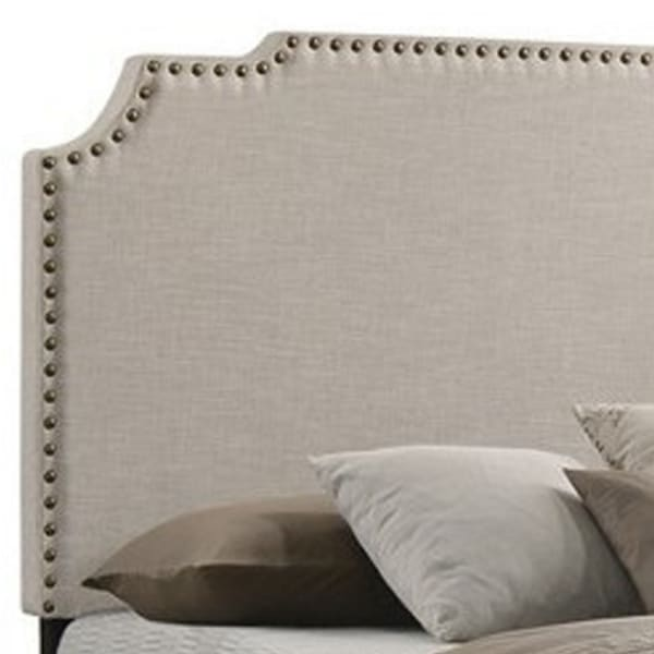 Fabric Upholstered Wooden Eastern King Size with Nailhead Trims, Beige
