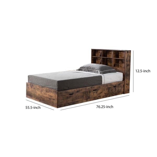 Wooden Frame 3 Drawers Full Size Chest Bed, Distressed Brown