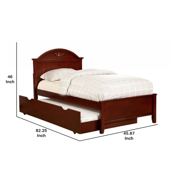 Transitional Style Twin Size Bed with Camel Design Headboard, Cherry Brown