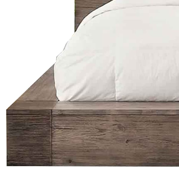 Transitional Style Wooden California King Size Bed with Grain Details,Brown
