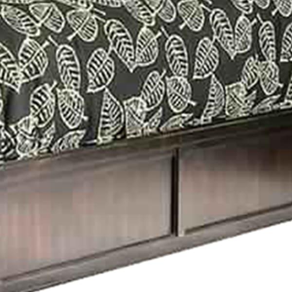 Platform California King Bed with Sleigh Headboard, Dark Brown and Beige