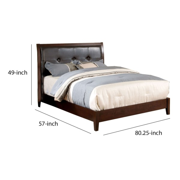 Contemporary Wooden Full Size Bed with Button Tufted Headboard, Brown
