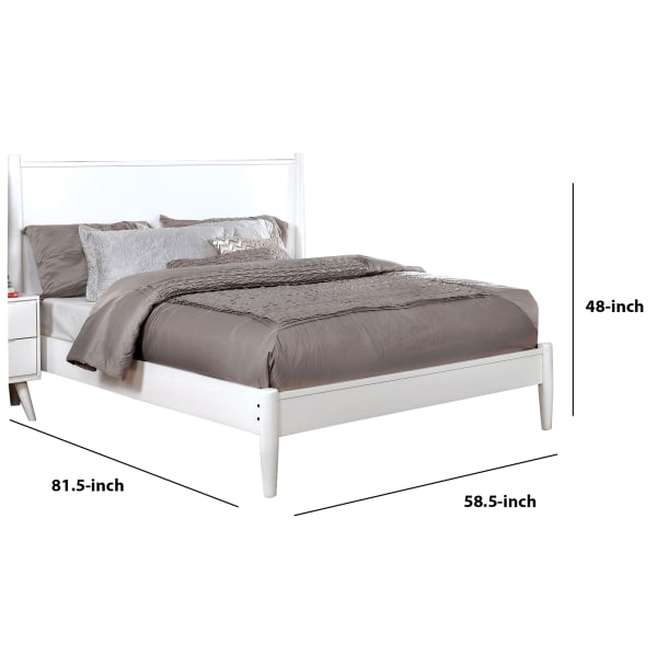 Transitional Wooden Full Bed with Round Tapered Legs and Headboard, White