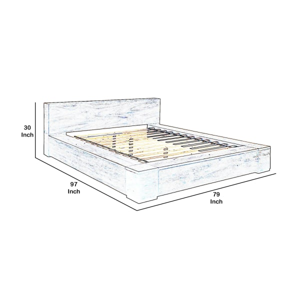 Queen Size Bed with 2 Drawers, Gray