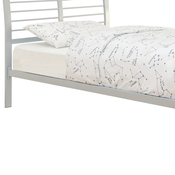 Slatted Full Size Metal Bed with Flared and Linear Details, Silver