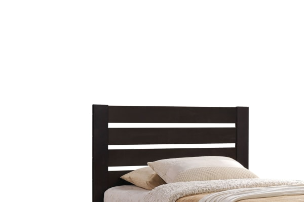 Contemporary Style Wooden Twin Size Bed with Slatted Headboard, Brown