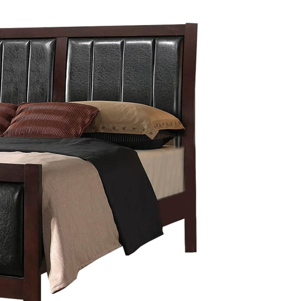 Leatherette Upholstered Wooden Eastern King Bed, Brown and Black