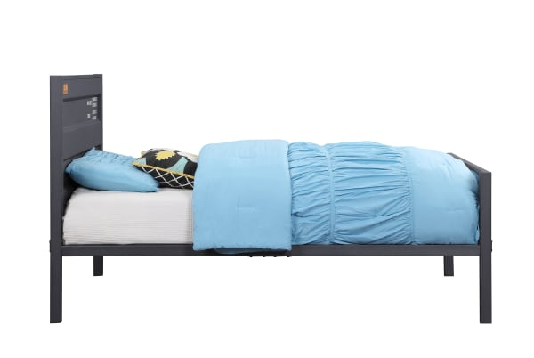 Industrial Style Metal Twin Size Bed with Straight Leg Support, Gray