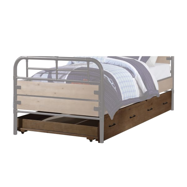 Traditional Wooden Twin Size Trundle with Caster Wheels, Brown