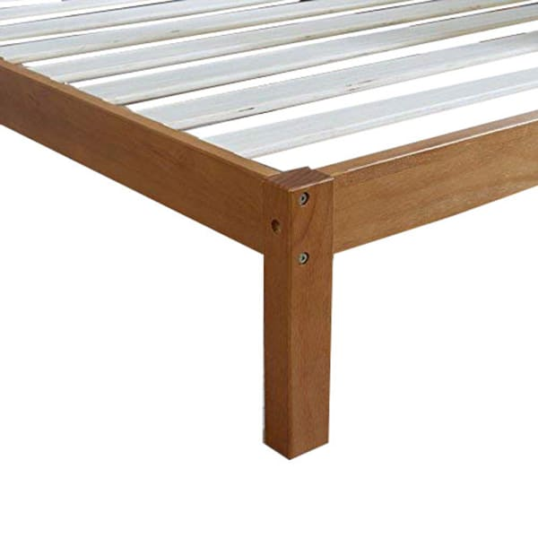 Twin Size Anti Skid Wooden Bed Frame with Headboard, Natural Brown