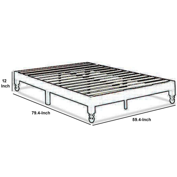 Slatted Queen Size Anti Skid Wooden Bed Frame, Espresso Brown
