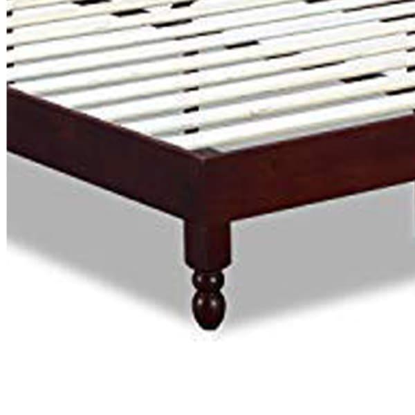 Slatted Full Size Anti Skid Wooden Bed Frame, Espresso Brown