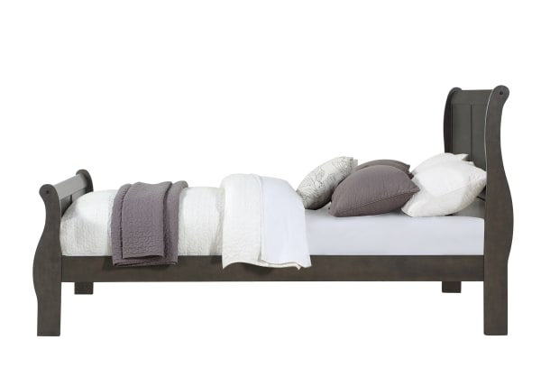 Wooden Queen Size bed with sleigh Headboard and Footboard, Dark Gray