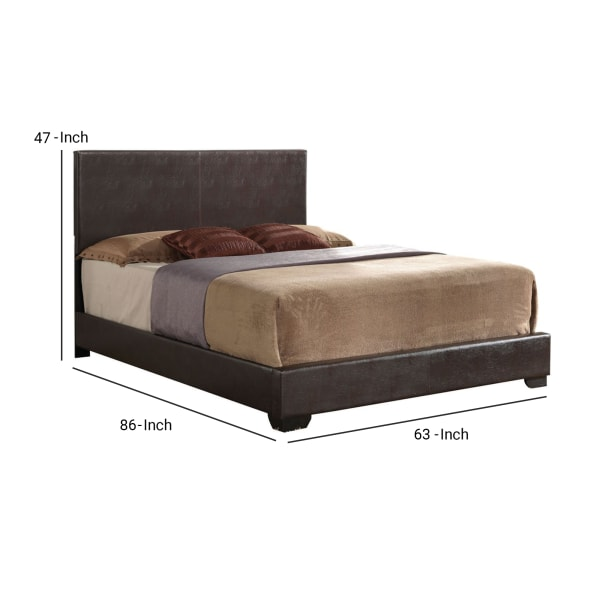 Contemporary Style Queen Size Wooden Panel Bed with Faux Leather Upholstery, Brown
