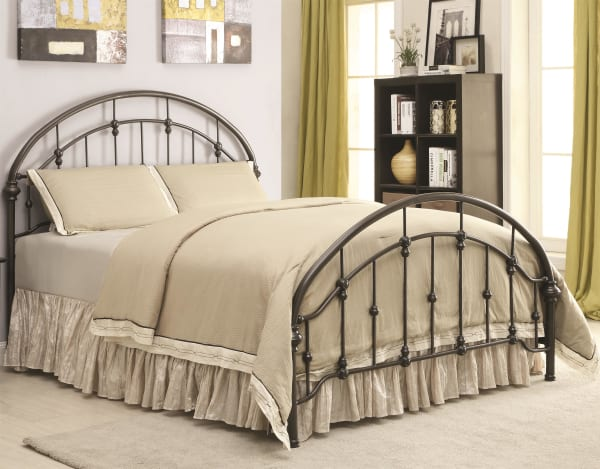 Metallic Twin Size Bed with Double Arched Headboard & Footboard, Dark Bronze