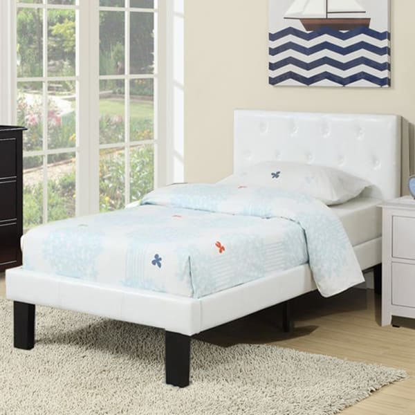 Faux Leather Upholstered Twin size Bed With tufted Headboard White