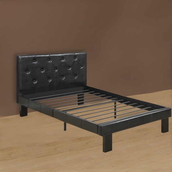 Faux Leather Upholstered Full size Bed With tufted Headboard Black