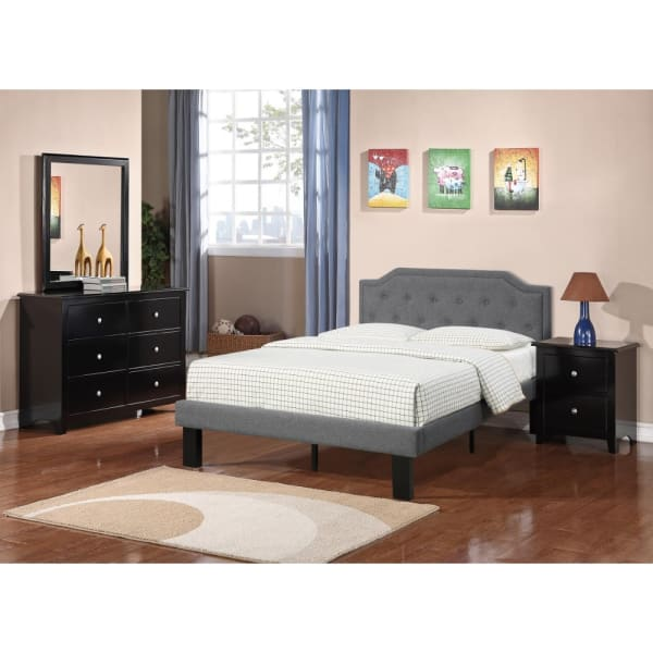 Glorious Upholstered Wooden Full Bed With Button Tufted Headboard, Blue Gray