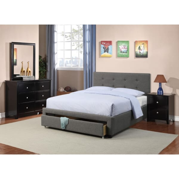 Upholstered Wooden Full Bed With Button Tufted Headboard & Lower Storage Drawer Gray