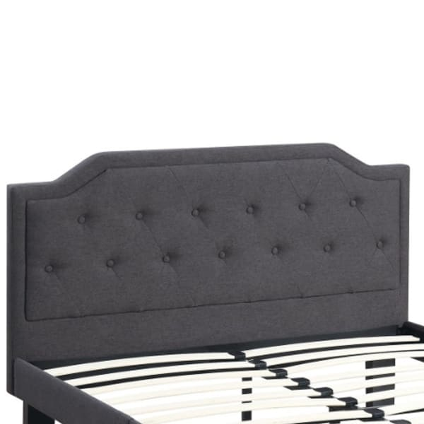 Glorious Upholstered Wooden Twin Bed With Button Tufted Headboard, Ash Black