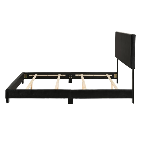 Leatherette Queen Bed With Low Profile Footboard & Block Legs, Black