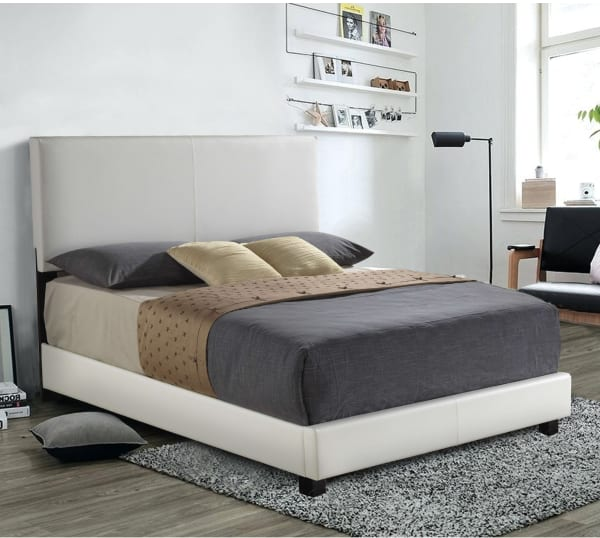 Luxurious Contemporary Style Queen Size Panel Bed, White