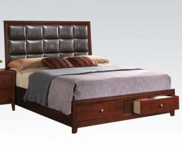 Well designed Luxurious Queen Size Bed With Storage, Brown