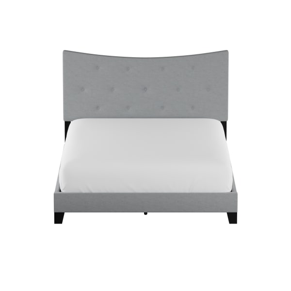 Fabric Queen Bed with Concave Arched Button Tufted Headboard, Gray