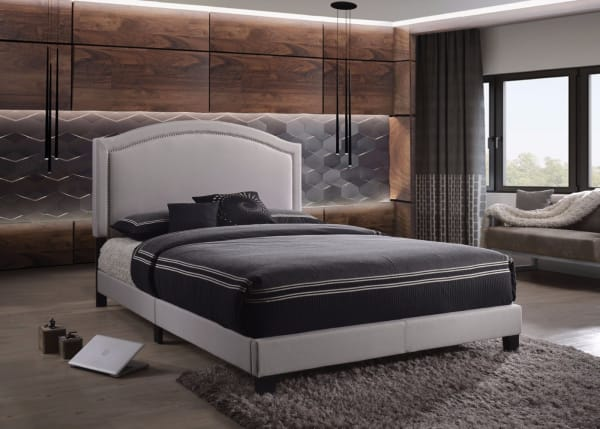 Contemporary And Stylish Queen Size Padded Bed, Grey