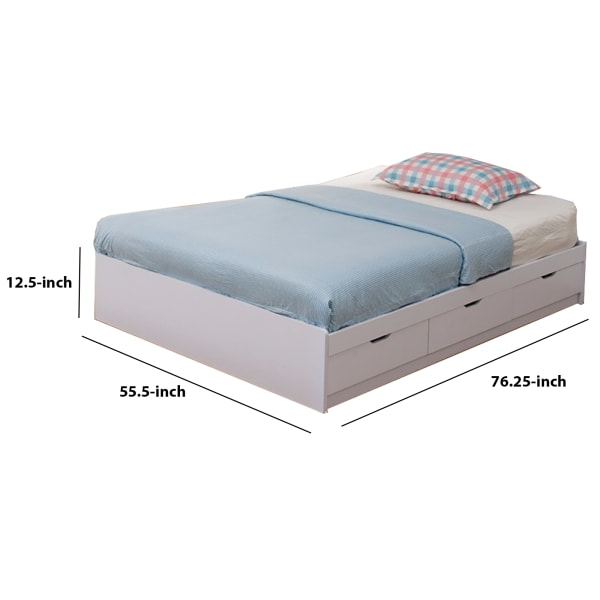Contemporary Style Wooden Frame Full Size Chest Bed with 3 Drawers, White