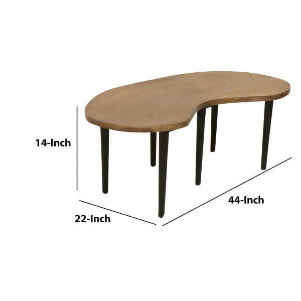 Industrial Kidney Bean Shaped Brass Top Coffee Table with Tapered Legs, Brass and Black