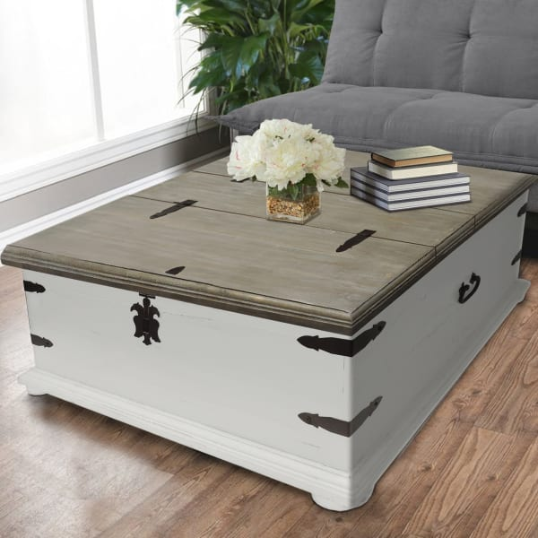 Trunk Shape Cocktail Table with Double Lid Opening, White and Brown