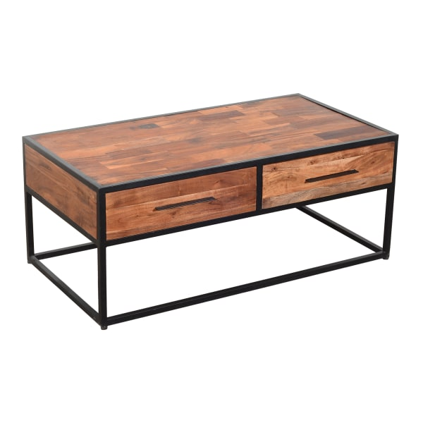 2 Drawer Industrial Metal Coffee Table with Wooden Tile Top, Brown and Black