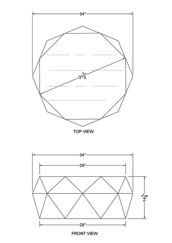 Diamond Shape Acacia Wood Coffee Table With Smooth Top, Dark Brown