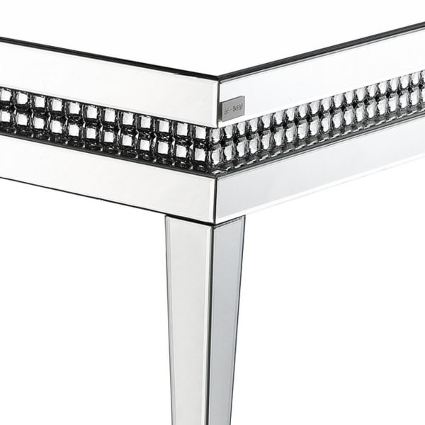 Mirror Inlay Coffee Table with Faux Crystal Accents, Silver