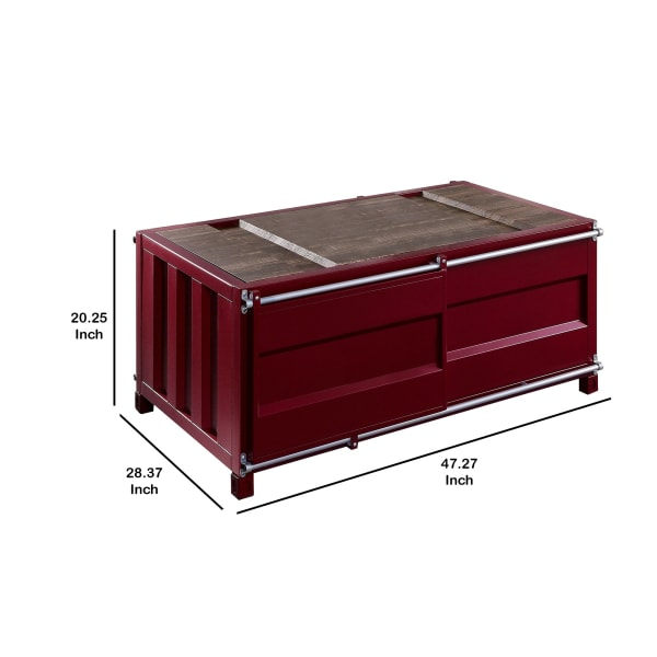 Container Style Coffee Table with Sliding Doors, Red